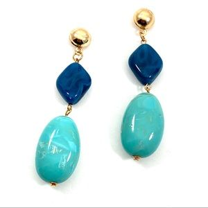 Turquoise and blue stone fashion earrings (v)